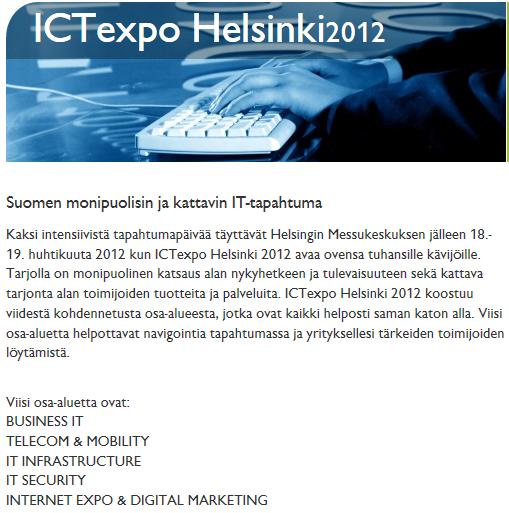 ICTexpo 2012 lippuja