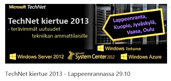 MS TechNet – kiertue Lappeenrannassa 29.10.